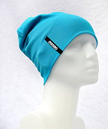 Detské čiapky - Čiapka Elastic tyrkis s menom - 10504022_