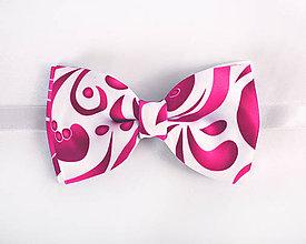 Doplnky - Pánsky motýlik - potlač FOLK ROSES (ružový folk na bielej) - 10503854_