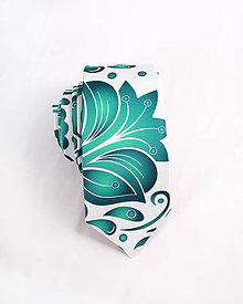 Doplnky - Pánska kravata - potlač FOLK ROSES (smaragdový folk na bielej) - 10504490_