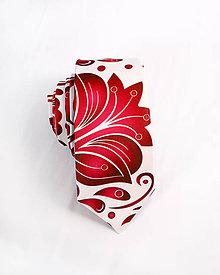 Doplnky - Pánska kravata - potlač FOLK ROSES (červený folk na bielej) - 10504497_