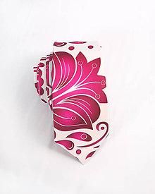 Doplnky - Pánska kravata - potlač FOLK ROSES (ružový folk na bielej) - 10504510_
