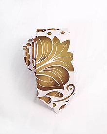 Doplnky - Pánska kravata - potlač FOLK ROSES (zlato-bronzový folk na bielej) - 10504538_