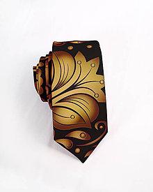 Doplnky - Pánska kravata - potlač FOLK ROSES (zlato-bronzový folk na čiernej) - 10504546_