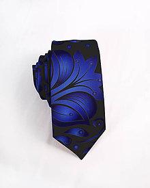 Doplnky - Pánska kravata - potlač FOLK ROSES (modrý folk na čiernej) - 10504584_