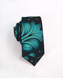Doplnky - Pánska kravata - potlač FOLK ROSES (smaragdový folk na čiernej) - 10504686_