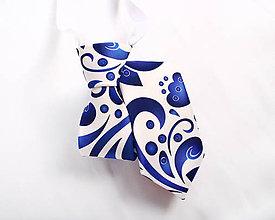 Detské doplnky - Detská kravata - potlač FOLK ROSES (modrý folk na bielej) - 10504720_