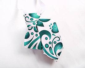Detské doplnky - Detská kravata - potlač FOLK ROSES (smaragdový folk na bielej) - 10504761_