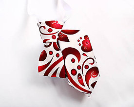 Detské doplnky - Detská kravata - potlač FOLK ROSES (červený folk na bielej) - 10504862_