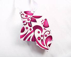 Detské doplnky - Detská kravata - potlač FOLK ROSES (ružový folk na bielej) - 10504875_