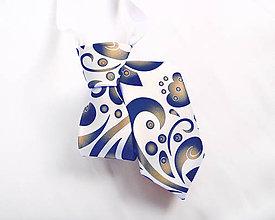 Detské doplnky - Detská kravata - potlač FOLK ROSES (modro-zlatý folk na bielej) - 10504880_
