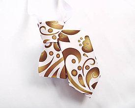 Detské doplnky - Detská kravata - potlač FOLK ROSES (zlato-bronzový folk na bielej) - 10504897_