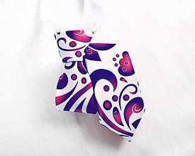 Detské doplnky - Detská kravata - potlač FOLK ROSES (modro-ružový folk na bielej) - 10504931_