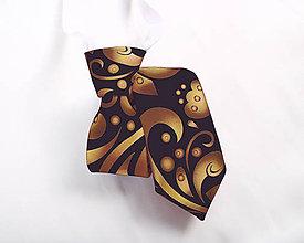 Detské doplnky - Detská kravata - potlač FOLK ROSES (zlato-bronzový folk na čiernej) - 10505141_