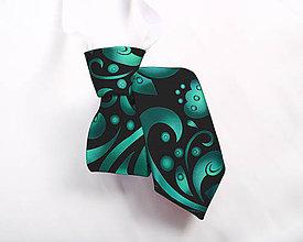 Detské doplnky - Detská kravata - potlač FOLK ROSES (smaragdový folk na čiernej) - 10505231_