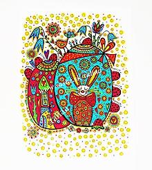 Kresby - VEĽKONOČNÝ ZAJAČIK - maľovaný obrázok - 10505169_