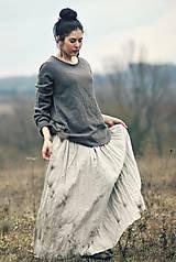 Sukne - Maxi sukně lněná režná (M) - 10504325_