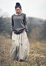 Sukne - Maxi sukně lněná režná (M) - 10504326_