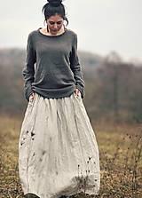 Sukne - Maxi sukně lněná režná (M) - 10504329_