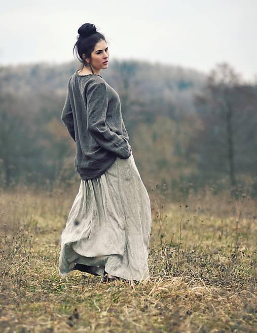 Maxi sukně lněná režná (M)