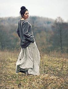 Sukne - Maxi sukně lněná režná - 10504324_