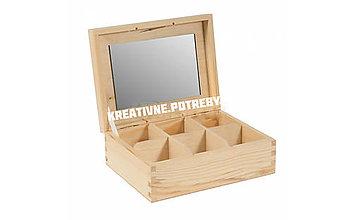 Polotovary - Šperkovnica 6 priečinkov+zrkadlo - 10504184_
