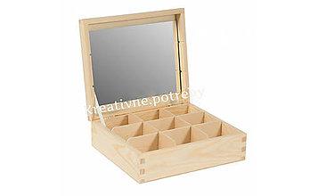 Polotovary - Šperkovnica 9 priečinkov+zrkadlo - 10504292_