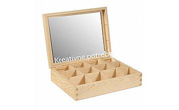 Polotovary - Šperkovnica 12 priečinkov+zrkadlo - 10504304_