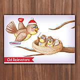Papiernictvo - Zimná pohľadnica - hladné vtáčiky vykúkajúce z hniezda - 10507427_