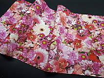 Úžitkový textil - Kvetinová sada (Stredový obrus ružové kvety  96×34 cm) - 10508792_