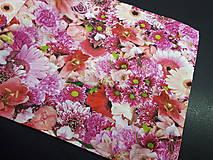 Úžitkový textil - Kvetinová sada (Stredový obrus ružové kvety  96×34 cm) - 10508793_