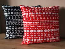 Úžitkový textil - obliečka na vankuš čičmany (Čierna/červenå) - 10509080_