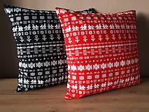 Úžitkový textil - obliečka na vankuš čičmany (Čierna/červenå) - 10509082_