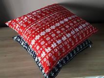 Úžitkový textil - obliečka na vankuš čičmany (Čierna/červenå) - 10509083_