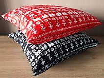 Úžitkový textil - obliečka na vankuš čičmany (Čierna/červenå) - 10509091_