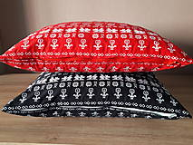 Úžitkový textil - obliečka na vankuš čičmany (Čierna/červenå) - 10509093_