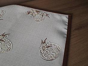 Úžitkový textil - Velkonočný  obrus s hnedým vzorom / Easter flowers (S čokoládovým lemom 64×64 cm) - 10508780_