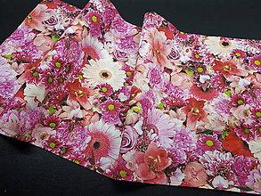 Úžitkový textil - Kvetinové sady (Stredový obrus ružové kvety  96×34 cm) - 10508792_