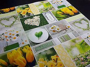 Úžitkový textil - Jarná kolekcia - kvety v záhrade (40×40 cm) - 10509546_