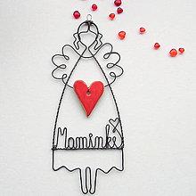 Dekorácie - srdiečko pre mamu - anjelik - 10510197_