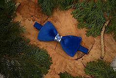 Doplnky - Luxusný zamatový motýlik - modrý - 10507899_