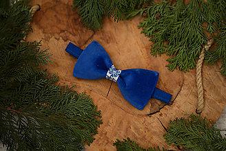 Doplnky - Vianočná akcia: Luxusný zamatový motýlik - modrý - 10507899_