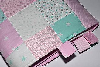Úžitkový textil - Zástena s vreckami *mentol-ružová* - 10510454_