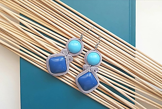 Náušnice - Minimalistické náušnice Blue - soutache earring - 10508735_
