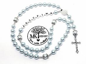 Náhrdelníky - Ruženec perličkový s textom (Bledomodrý) - 10511321_