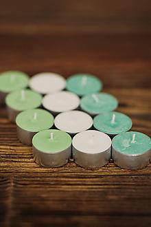 Svietidlá a sviečky - Vonné čajové sviečky - Mäta & Natur & Medovka - 12kusov - 10509150_