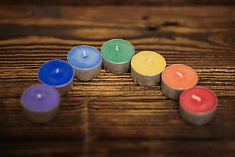 Svietidlá a sviečky - Čakrové čajové sviečky - Sada 7ks - 10509253_