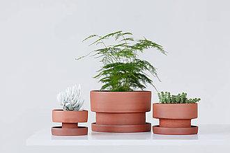 Nádoby - set keramických kvetináčov, červený - 10511442_