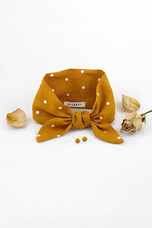 Zlatožltá bodkovaná šatka z ľanu