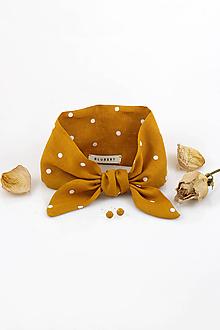 Šatky - Zlatožltá bodkovaná šatka z ľanu - 10509366_