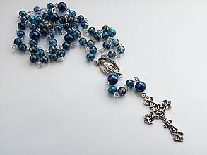 Iné šperky - Ruženec v modrej farbe - 10509483_